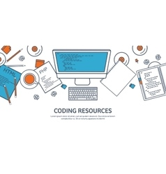 Lined programmingcoding Outline Flat computing vector image