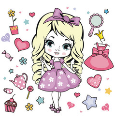 little girl design elements vector image