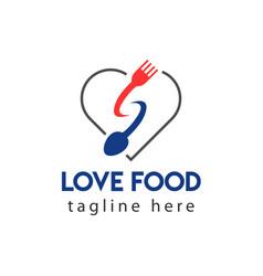 Love food logo template design vector