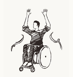 Man wheelchair finish line concept victory vector