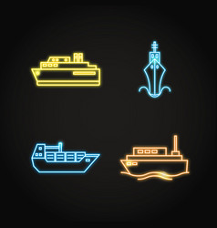 marine collection of ship icons in glowing neon vector image