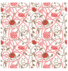 Medieval flowers pattern white vector