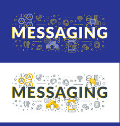 Messaging flat line concept for web banner and vector