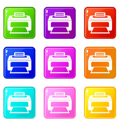 Modern laser printer icons 9 set vector
