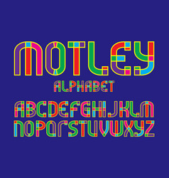Motley alphabet colorful letters font isolated vector