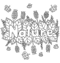 nature word - coloring page for adults and vector image