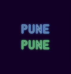 Neon name of pune city in india vector