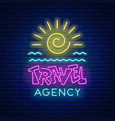 Neon sign travel agency vector