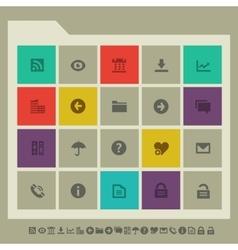 Office 1 icon set Multicolored square flat vector