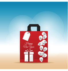 Paper bag red with happy new year 2017 and vector