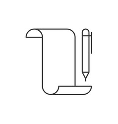 Paper scroll with pen vector