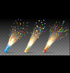 Party poppers on transparent backdrop vector