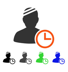 Patient clock flat icon vector