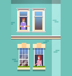 People looking out apartment stay home self vector