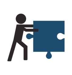 Person holding puzzle piece icon vector