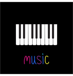 Piano Keys with word Music Black background Card vector