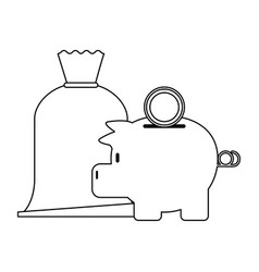 piggy with coin and money vector image