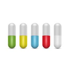 pills medicine capsule realistic 3d style vector image