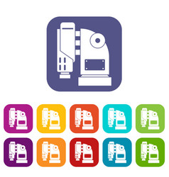 pneumatic hammer machine icons set flat vector image
