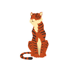 Powerful tiger sitting front view wild cat vector