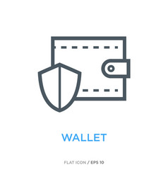 protected wallet line flat icon vector image