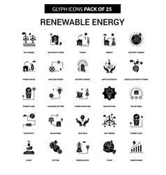 Renewable energy glyph icon set vector