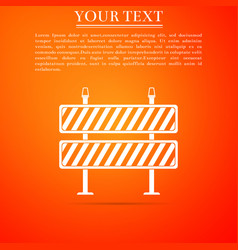 road barrier icon isolated on orange background vector image