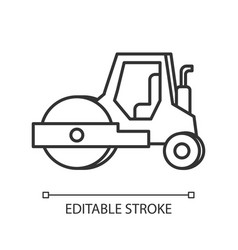 Road roller pixel perfect linear icon compactor vector