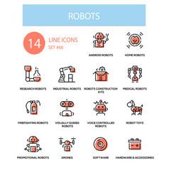 robots concept - line design style icons set vector image
