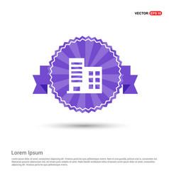 School building icon - purple ribbon banner vector