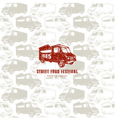 Seamless pattern and emblem for street food vector