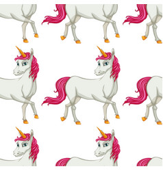 seamless pattern tile cartoon with unicorn vector image