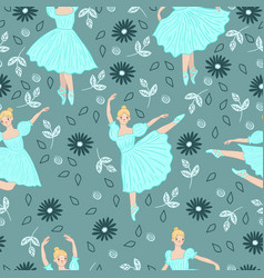 seamless pattern with ballerinas and flowers vector image