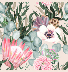 seamless pattern with protea and greenery vector image