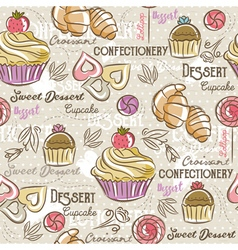 Seamless Patterns with different sweetmeats vector
