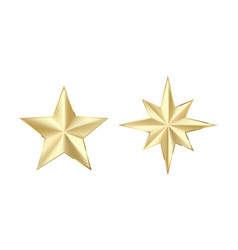 set golden stars with glitters shiny gold star vector image