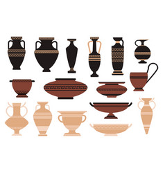 set icons ancient amphora museum art gallery vector image