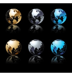 set silver gold and blue globe in black vector image