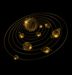 Shine golden solar system with hand drawn planets vector
