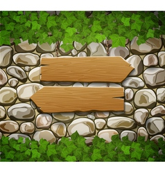 stone wall with two arrows and leaves vector image