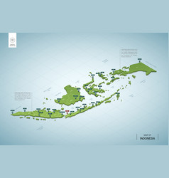 Stylized map indonesia isometric 3d green map vector