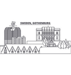 Sweden gothenburg line skyline vector