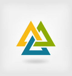Tricolor valknut symbol interlocked triangles vector