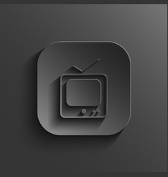 TV icon - black app button vector