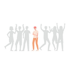 Upset lonely man standing alone among crowd flat vector