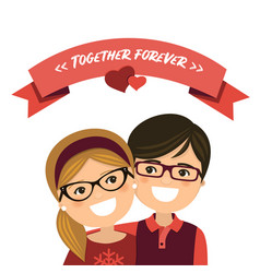 valentine day couple in love boy and girl with vector image