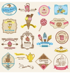 Vintage Bakery and Dessert labels vector