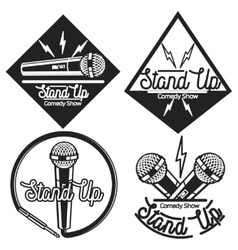 Vintage Stand up comedy show emblems vector