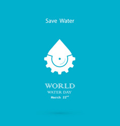 Water drop with cog icon logo design vector