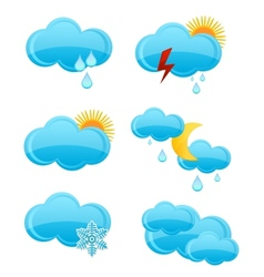 web cloud symbols set blue color vector image